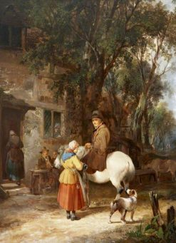 Man on a Horse Being Served Outside an Inn | William Shayer Snr | oil painting