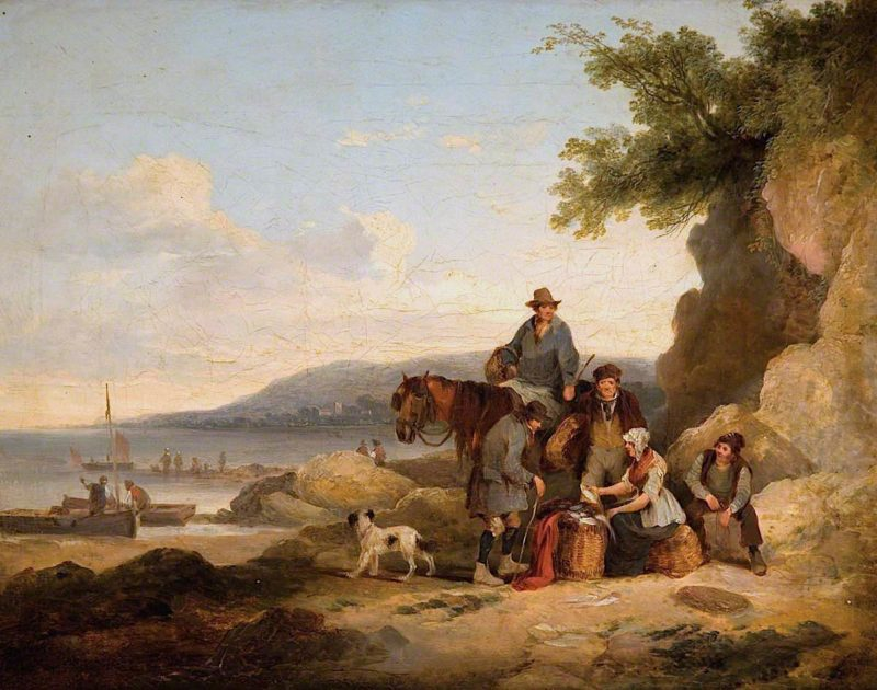 On the Beach at Portishead   William Shayer Snr   oil painting