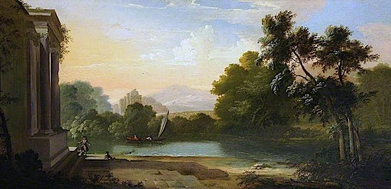 Romantic Landscape   Clement Lambert   oil painting