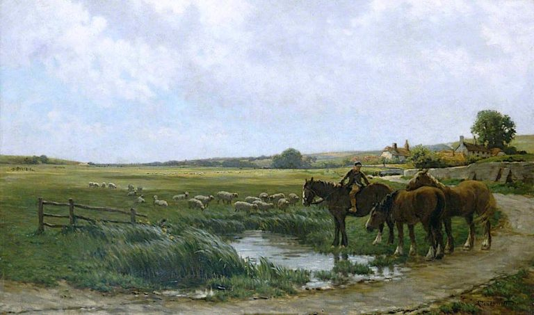 Landscape with Horses and Sheep | Clement Lambert | oil painting