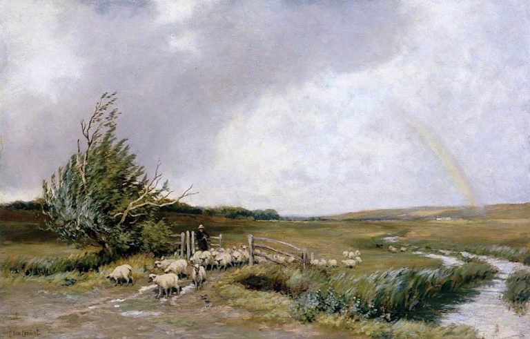 Landscape with a Rainbow and Sheep | Clement Lambert | oil painting