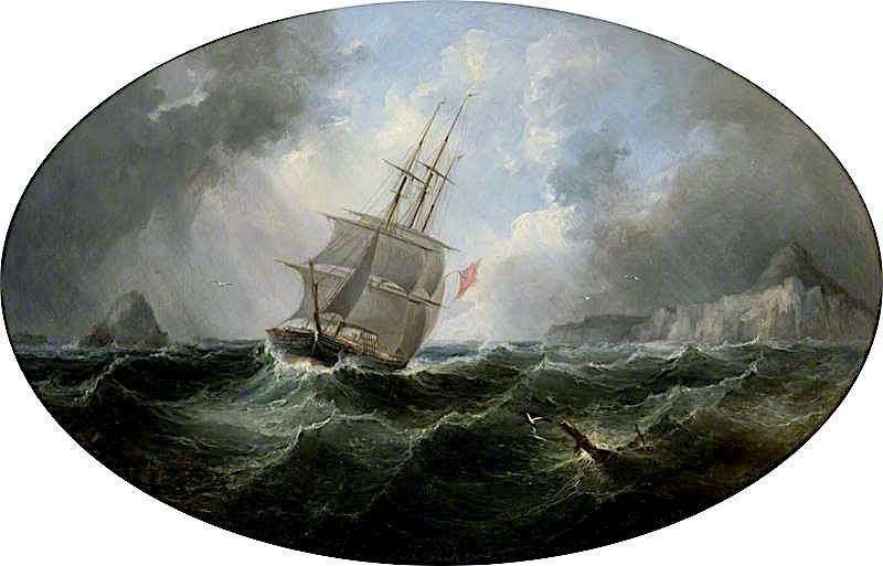 A Frigate off a Rocky Coast | Arthur Smith | oil painting