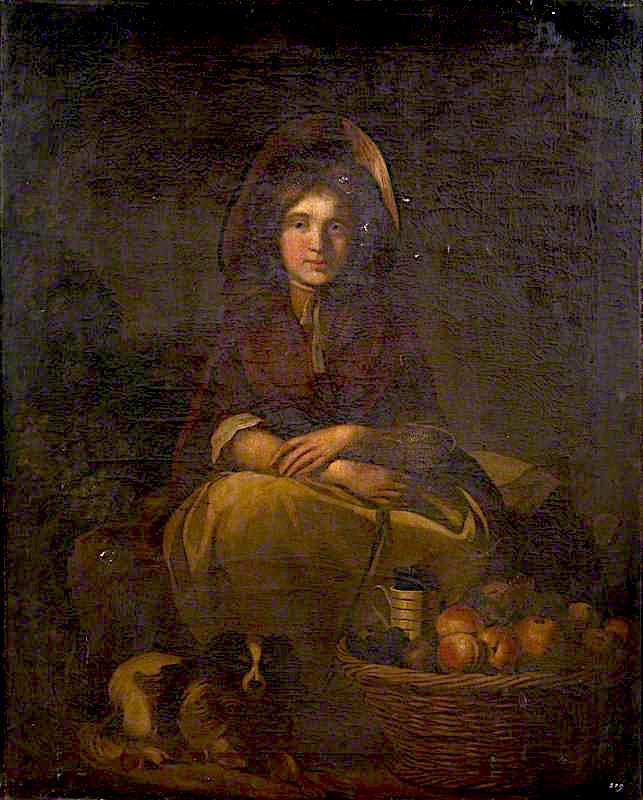 A Young Woman in a Bonnet Selling Fruit