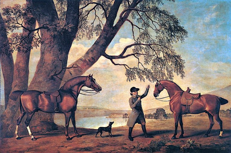 Two of Peter Beckfords Hunters with a Groom and Dog | George Stubbs | oil painting