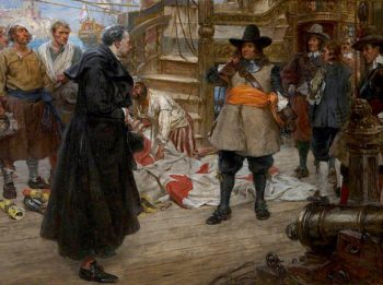 Admiral Blake and the Spanish Priest at Malaga | Arthur McCormick | oil painting