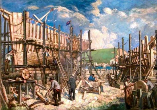 Ship Building | Francis Henry Newbery | oil painting