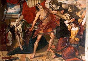 Orestes Seized by the Furies after the Murder of Clytemnestra | David Scott | oil painting