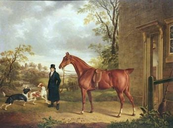 A Chestnut Hunter with a Groom in a Landscape | Charles Towne | oil painting
