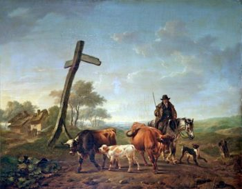 A Drover on Horseback with a Dog Driving Two Cows and a Calf | Charles Towne | oil painting
