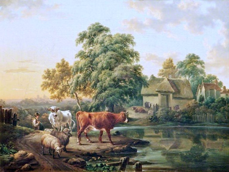 A Farm Landscape with Cattle and Sheep by a Pond | Charles Towne | oil painting