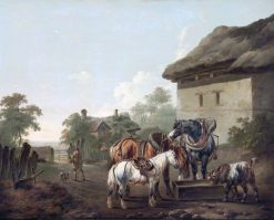 A Farmyard with Horses at a Trough | Charles Towne | oil painting