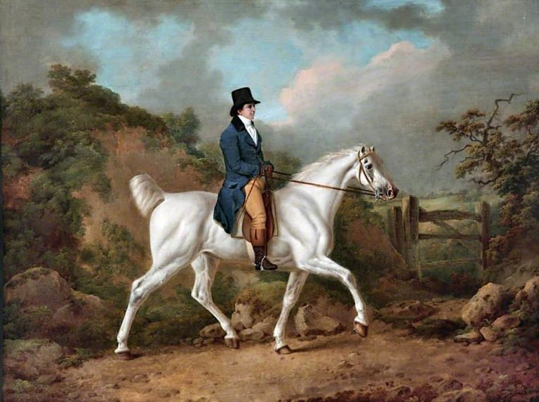 A Gentleman on a Grey Mare | Charles Towne | oil painting