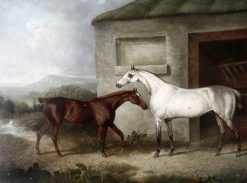 A Grey Racehorse and a Brown Foal Standing Outside a Stable | Charles Towne | oil painting