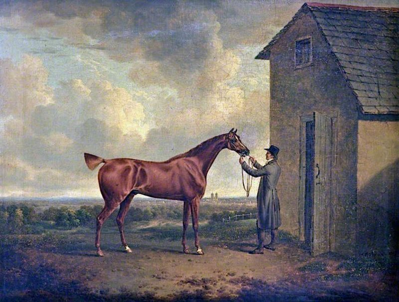 A Groom Holding an Unsaddled Chestnut Hunter Outside a Stable | Charles Towne | oil painting