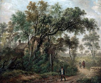 A Wayfarer in a Country Lane | Charles Towne | oil painting