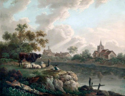 Boy Resting by a River with Cattle and Sheep | Charles Towne | oil painting