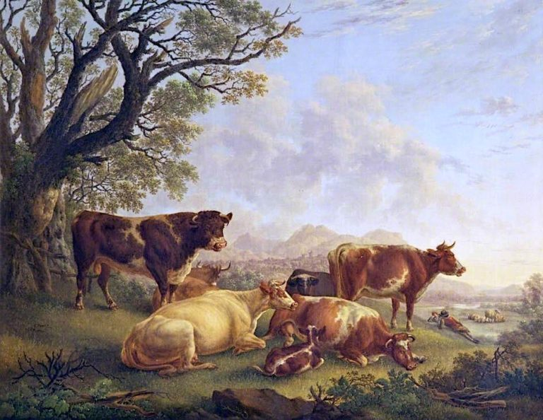 Bull and Cattle and Herdsman Resting in Valley Pasture   Charles Towne   oil painting