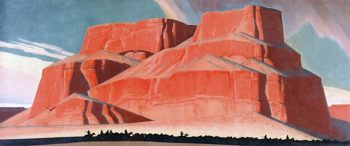 Red Butte with Mountain Men | Maynard Dixon | oil painting