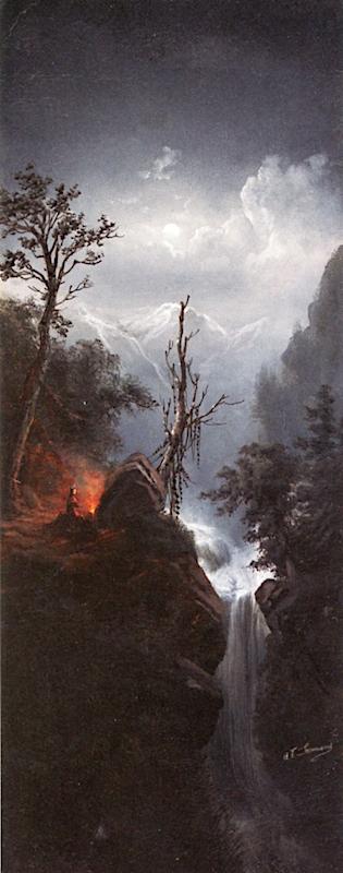 Moonlit Encampment with Figure   Alexander Francois Loemans   oil painting
