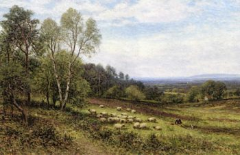 A Shepherd with His Flock | Alfred Augustus Glendening | oil painting