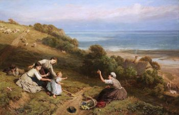 Landscape -  The Girl with the Orange   Myles Birket Foster   oil painting