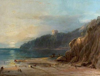 Coastal Landscape with a Castle at Sunset | Horatio McCulloch | oil painting