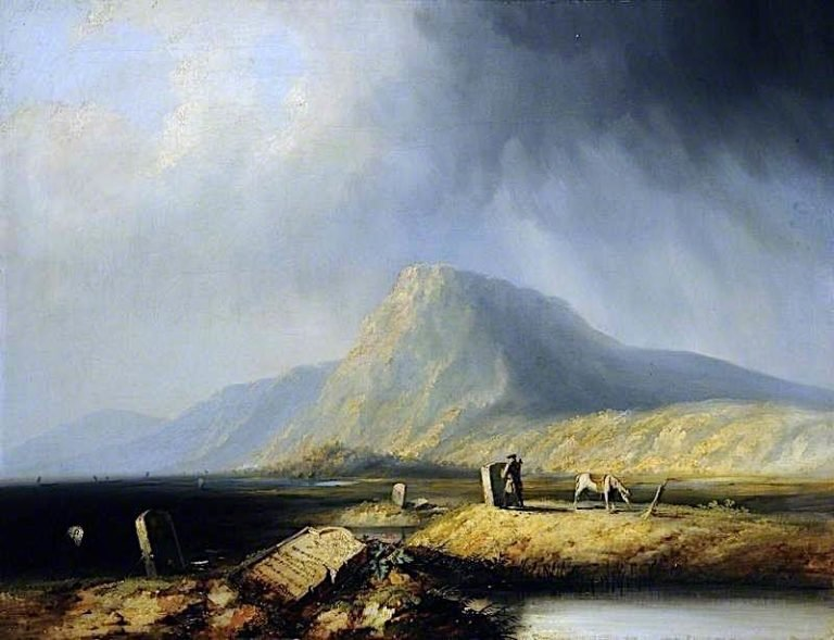 Old Mortality Recutting the Tomb Stones of the Covenanters | Horatio McCulloch | oil painting