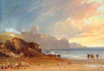 Seascape with a Castle and Figures | Horatio McCulloch | oil painting