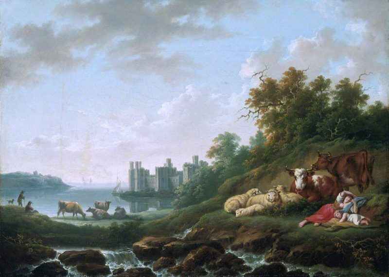Caernarvon Castle   Charles Towne   oil painting