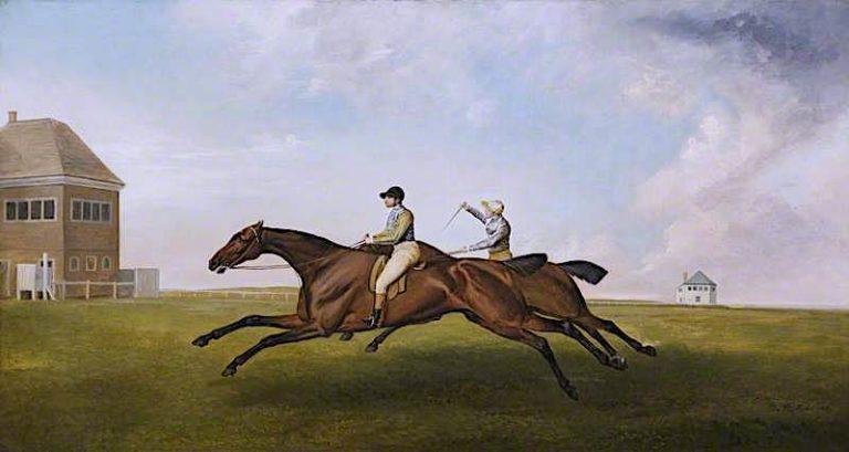 Hambletonian Beating Diamond (after George Stubbs)   James Ward   oil painting