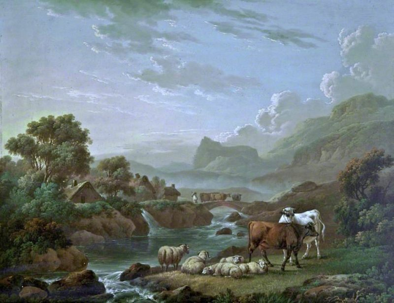 Cattle and Sheep by a Mountain Stream | Charles Towne | oil painting