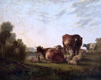 Cattle and Sheep in a Pasture | Charles Towne | oil painting