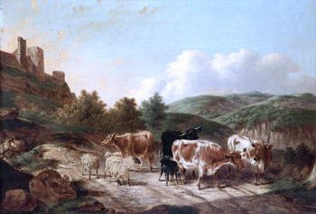 Cattle and Sheep with a Goat in a Mountain Landscape with a Castle | Charles Towne | oil painting