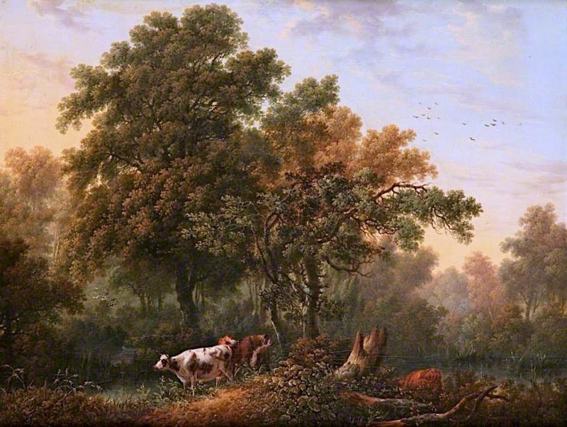 Cattle in a Wood by a Pond | Charles Towne | oil painting