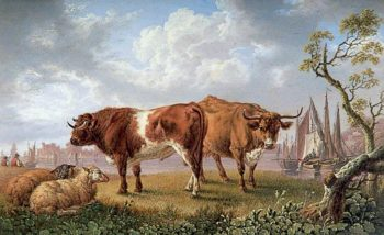 Cattle on a River Bank | Charles Towne | oil painting