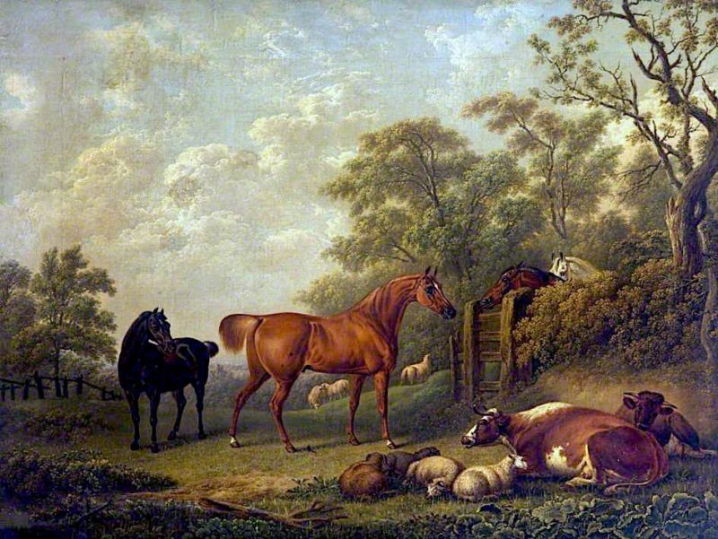 Chestnut and Black Racehorses with Cattle in a Field | Charles Towne | oil painting