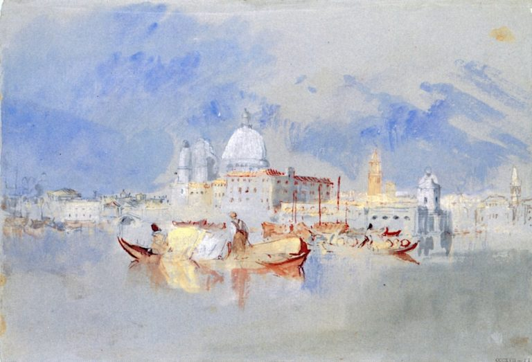 Boats in front of the Dogana and Santa Maria della Salute | Joseph Mallord William Turner | oil painting