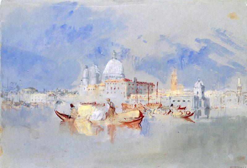Boats in front of the Dogana and Santa Maria della Salute   Joseph Mallord William Turner   oil painting