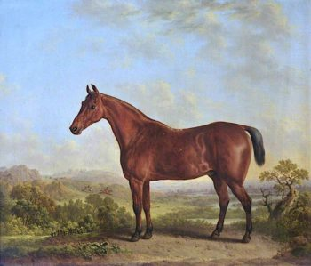 Chestnut Horse in a Landscape with a Fox Hunt | Charles Towne | oil painting