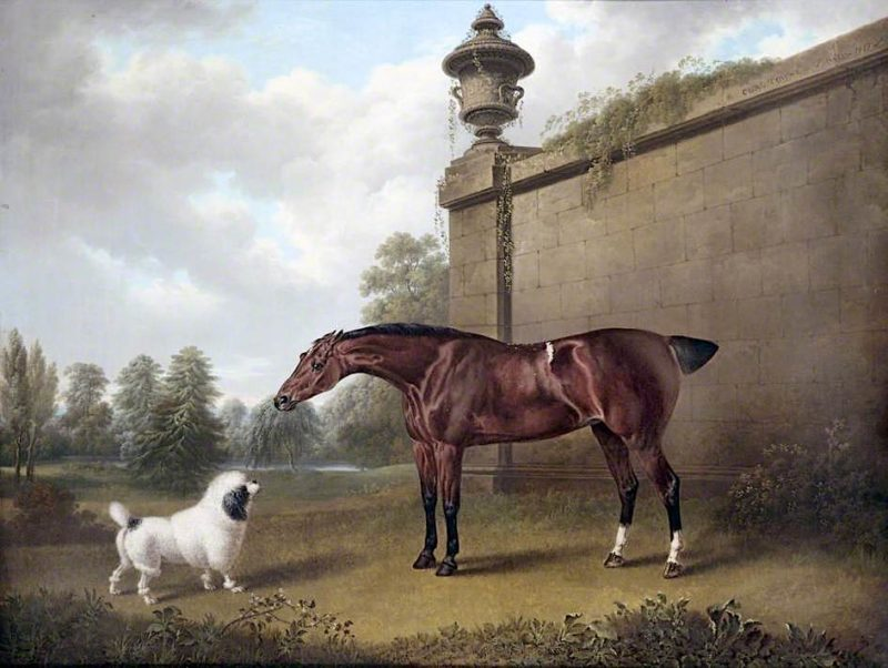 Chestnut Hunter and a Dog in a Park   Charles Towne   oil painting