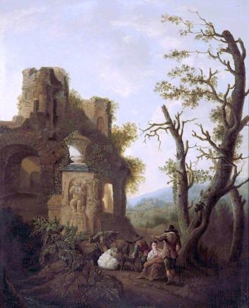 Classical Ruins with Peasants and Goats | Charles Towne | oil painting