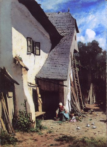 Klosterneuburg Farmhouse with Peasant Woman and Child | August Xaver Carl Ritter von Pettenkofen | oil painting