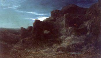 Rocky Landscape at Night | Carl Spitzweg | oil painting