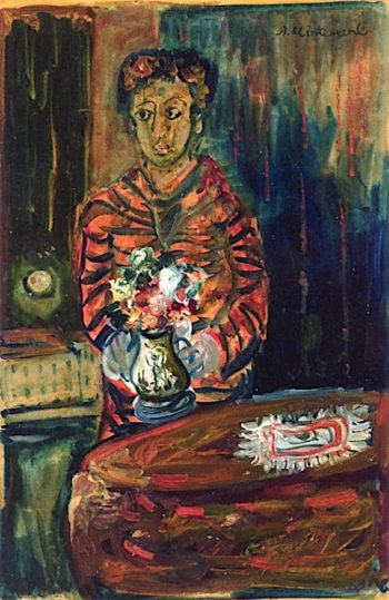 Figure with Vase of Flowers | Abraham Mintchine | oil painting