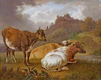 Cows with a Castle in the Background | Charles Towne | oil painting