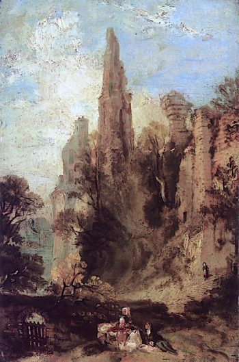 Landscape with Figures and Ruins of a Castle   Carl Blechen   oil painting