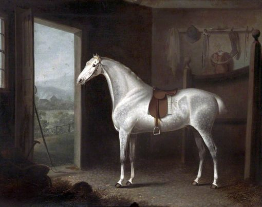 Dappled Grey Horse Saddled in a Stable | Charles Towne | oil painting