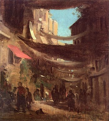 Oriental Street with Standing and Crouching Fugures | Carl Spitzweg | oil painting
