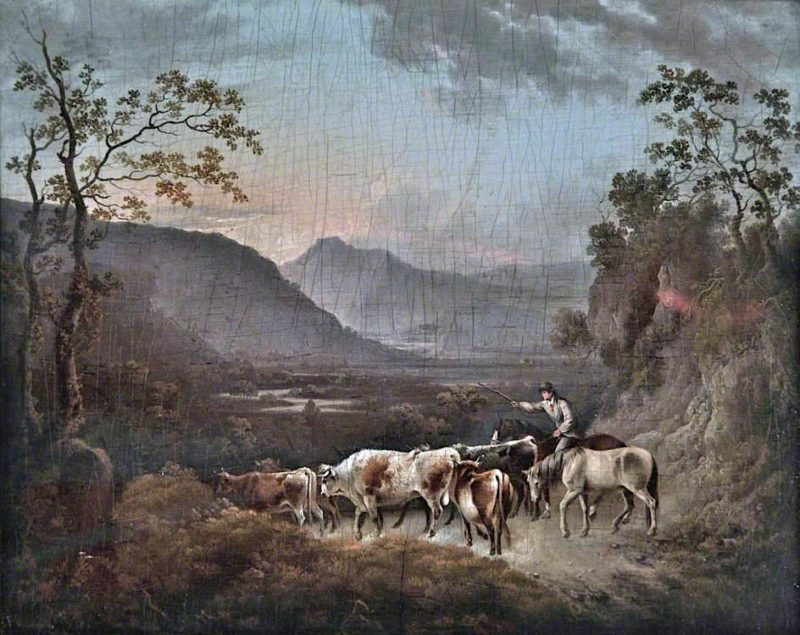Drover and Cattle Entering a Valley | Charles Towne | oil painting