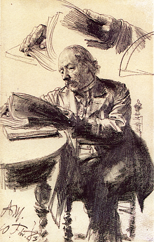 A Reading Man and Sketch of His Hands | Adolph von Menzel | oil painting